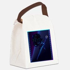 Black Rose and Dagger Canvas Lunch Bag