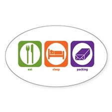 Eat Sleep Packing Oval Decal