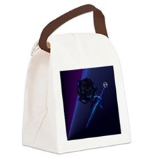 Mens All Over Front Black Rose an Canvas Lunch Bag