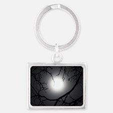 Full Harvest Moon Silhouetting  Landscape Keychain