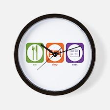 Eat Sleep News Wall Clock