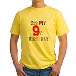 9th Birthday Yellow T-Shirt
