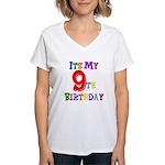 9th Birthday Women's V-Neck T-Shirt