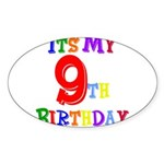 9th Birthday Oval Sticker