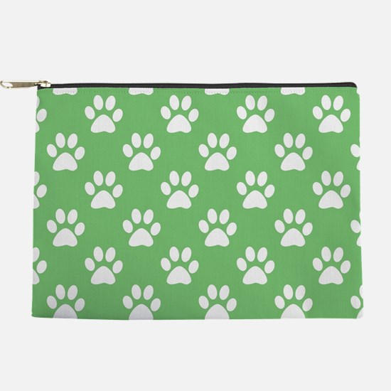 Green and white paws pattern Makeup Pouch