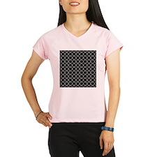 Black Quatrefoil Pattern Performance Dry T-Shirt