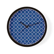 Navy Blue Quatrefoil Pattern Wall Clock