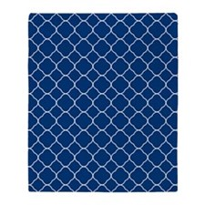 Navy Blue Quatrefoil Pattern Throw Blanket
