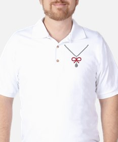 Ruby bow and diamond necklace Golf Shirt