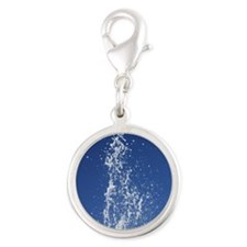 Jet Of Water Frozen In Time Silver Round Charm