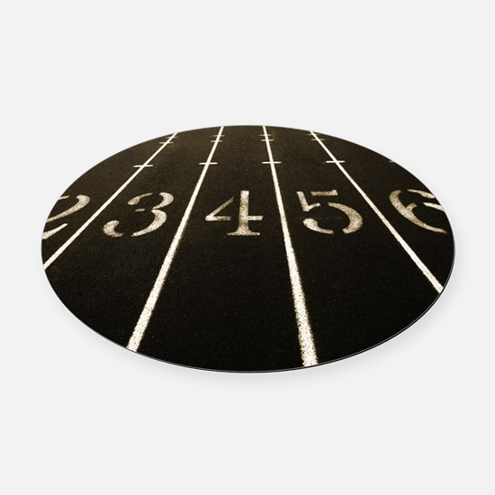 Race Track Numbers In Sepia Tone Oval Car Magnet