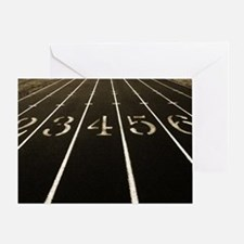 Race Track Numbers In Sepia Tone Greeting Card