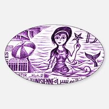 Vintage 1959 Tunisia Mermaid Postag Decal