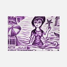 Vintage 1959 Tunisia Mermaid Post Rectangle Magnet