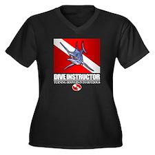 Dive Instruc Women's Plus Size Dark V-Neck T-Shirt