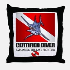Certified Diver (Marlin) Throw Pillow