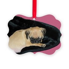 Adorable Sleeping Pug Puppy Ornament