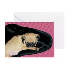 Adorable Sleeping Pug Puppy Greeting Card