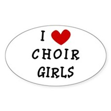 I Heart Choir Girls Oval Decal