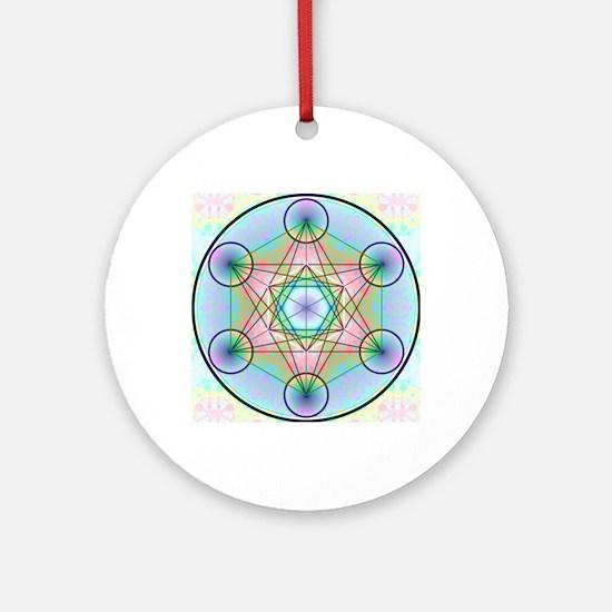 Metatron's Cube Rainbow Round Ornament
