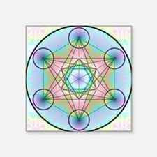 "Metatron's Cube Rainbow Square Sticker 3"" x 3"""