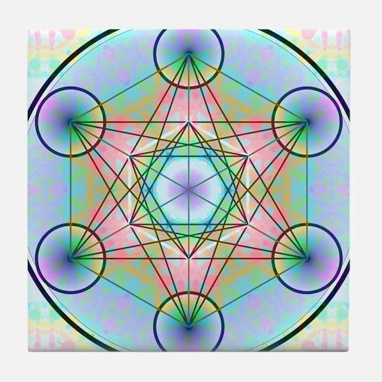 Metatron's Cube Rainbow Tile Coaster