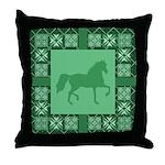 Gaited Horse Green Throw Pillow