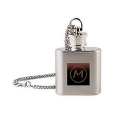 Cute Letter m (gothic initial) Flask Necklace