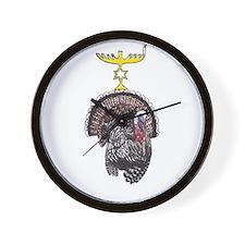Thanksgivukkah Turkey and Menorah Wall Clock