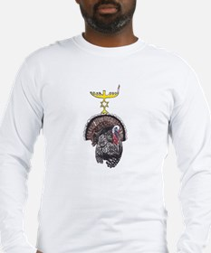 Thanksgivukkah Turkey and Menorah Long Sleeve T-Sh