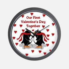 Penguins First Valentine's Day Together Wall Clock
