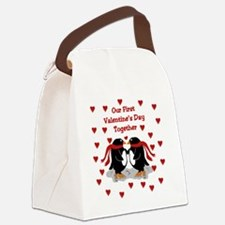 Penguins First Valentine's Day To Canvas Lunch Bag