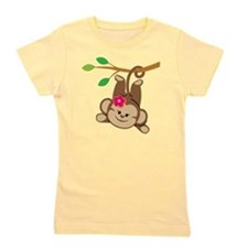 Girl Monkey Swinging From Branch Girl's Tee