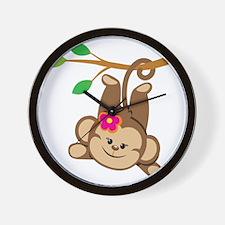 Girl Monkey Swinging From Branch Wall Clock