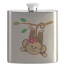 Girl Monkey Swinging From Branch Flask
