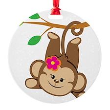 Girl Monkey Swinging From Branch Ornament