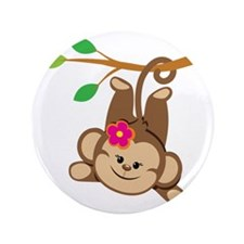 "Girl Monkey Swinging From Branch 3.5"" Button"