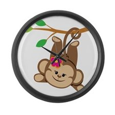 Girl Monkey Swinging From Branch Large Wall Clock