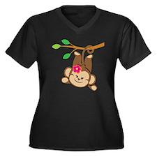 Girl Monkey  Women's Plus Size Dark V-Neck T-Shirt