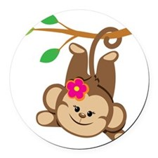 Girl Monkey Swinging From Branch Round Car Magnet