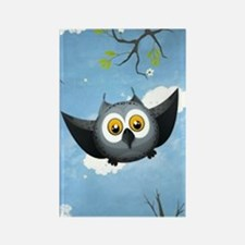 A Cute Gray Owl Rectangle Magnet