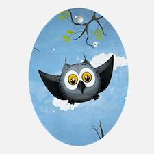 A Cute Gray Owl Oval Ornament