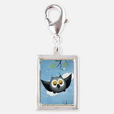 A Cute Gray Owl Silver Portrait Charm