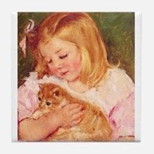 Marie Cassatts Niece Sara with her Kitten Tile Coa