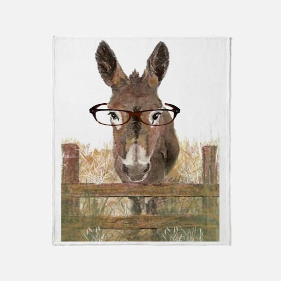 Humorous Smart Ass Donkey Painting Throw Blanket