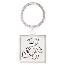 Tragic Bear Sketch Square Keychain