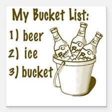 """My Beer Bucket List Square Car Magnet 3"""" x 3"""""""