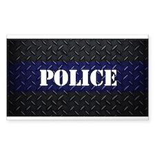 Police Diamond Plate Thin Blue Line Decal