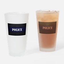 Police Diamond Plate Thin Blue Line Drinking Glass