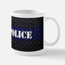 Police Diamond Plate Thin Blue Line Mugs